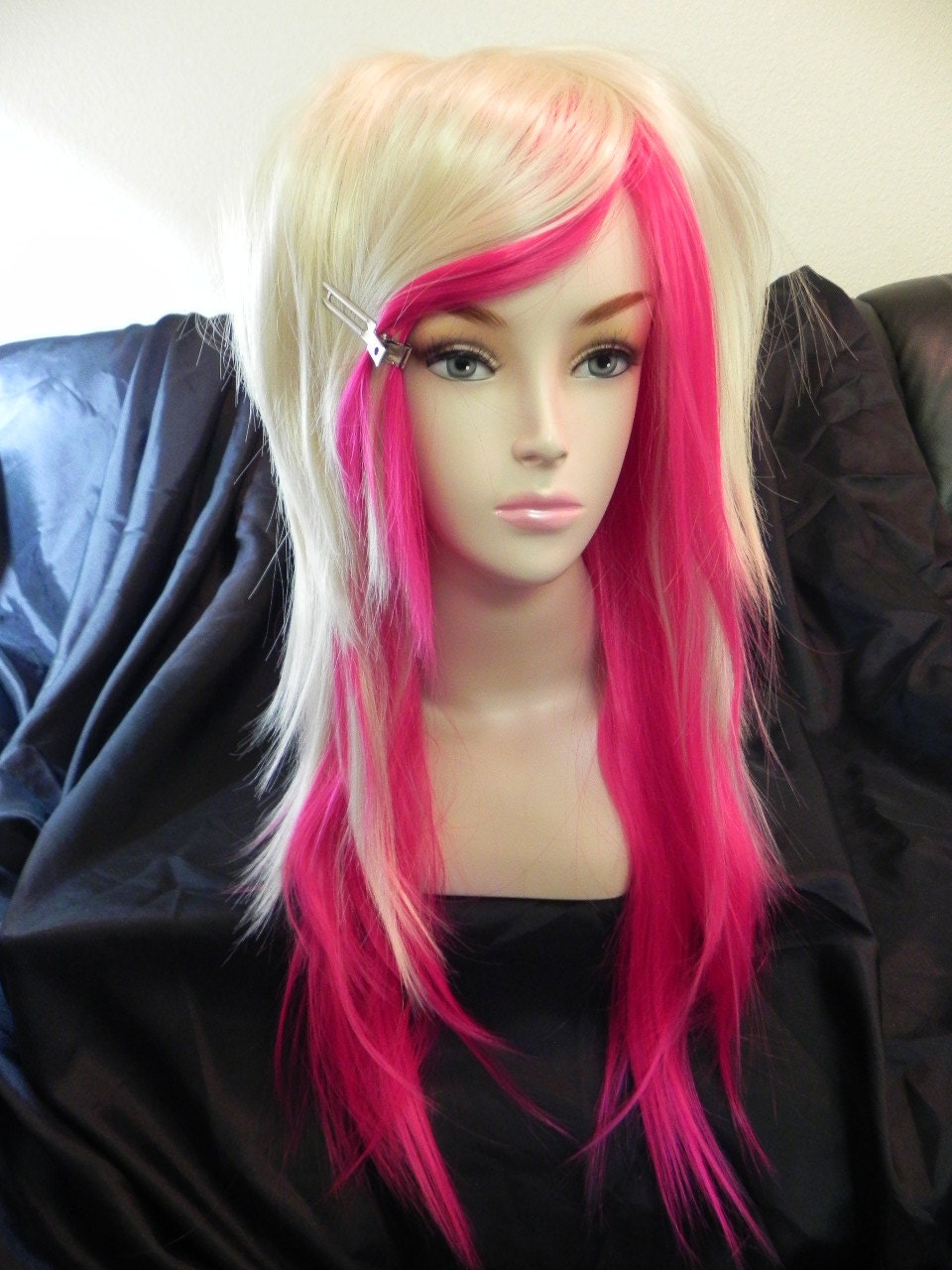 Hot Pink and Blonde / Long Straight Layered Wig by ExandOh