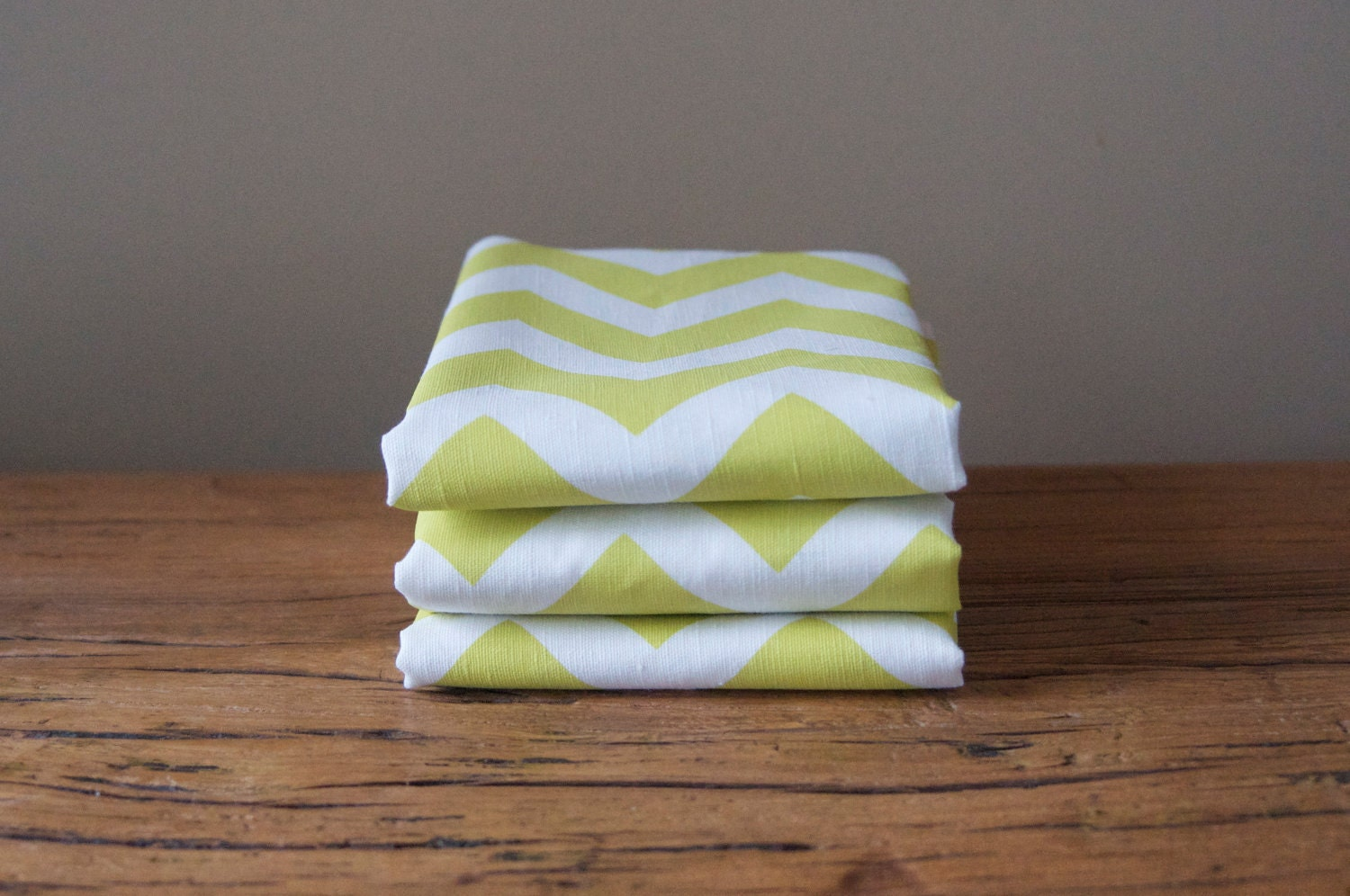 Cotton/Linen Tea Towel, Hand Printed Chevron in Citrus