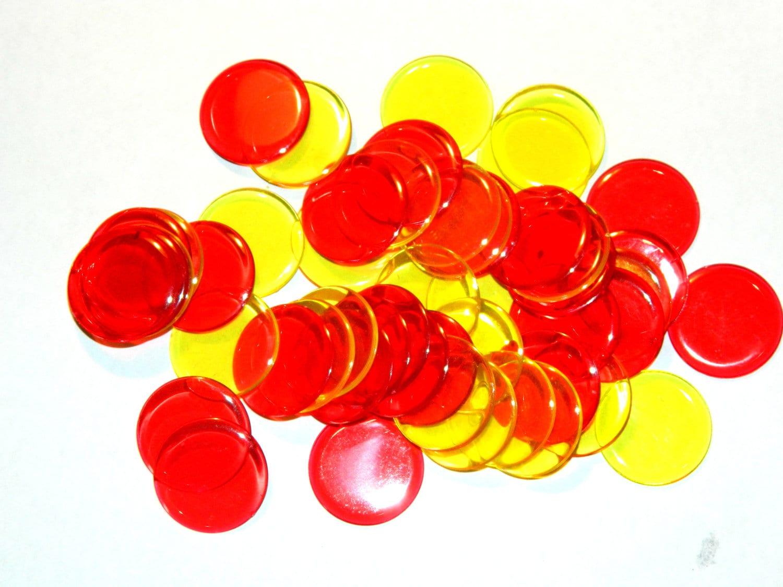Red and Yellow Plastic Circles Bingo Markers  50PCS - PixeyMeatDestash