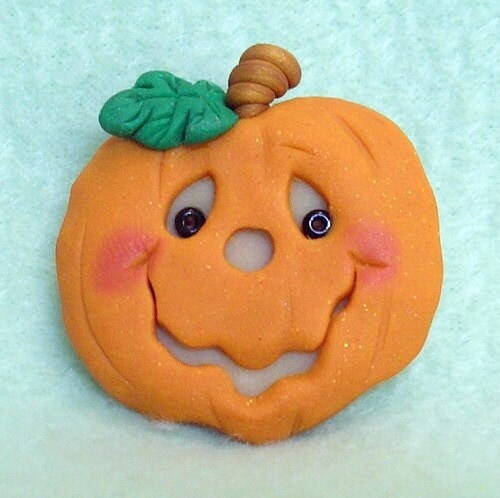 Funny Glow in the dark Pumpkin Pin, Magnet, or Pendant - Buttonwilloe