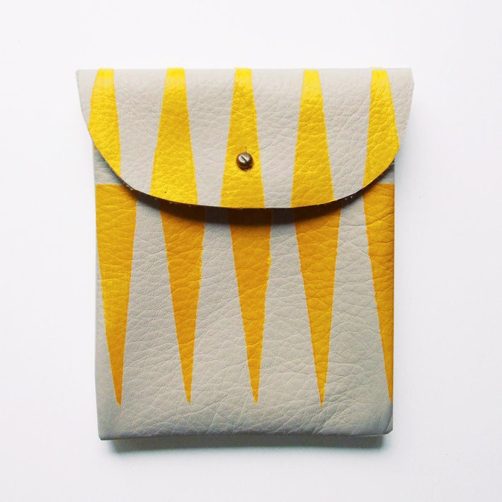 LEATHER POUCH // beige leather with yellow tribal print - BlackbirdAndTheOwl