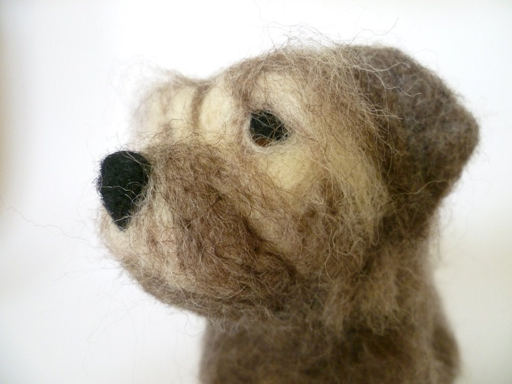 Big Shaggy Terrier, needlefelted sculpture in Shetland wool