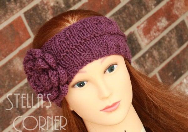 Headband, Purple Headband, Knit Headband, Flower Headband, Knitted Headband, Purple Flower Headband, Purple Knit Earwarmer, Crochet Headband