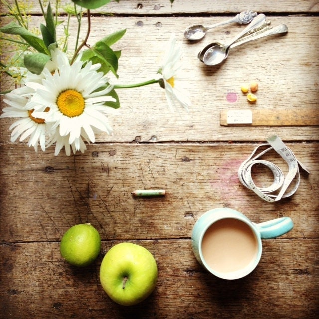 Limited Edition Signd Print of The Table, 'July' featuring Daisies, Tea, Fruit and Tiny Cornish Shells.