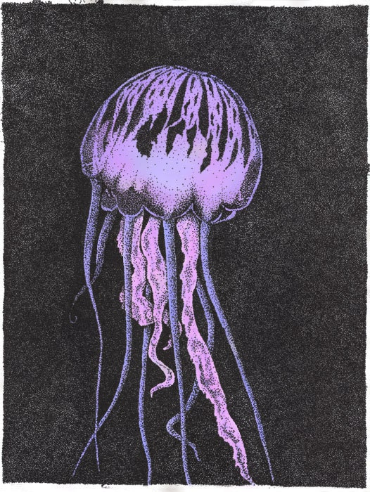 Jellyfish Print Purple-Giclee Pointillism - Purple