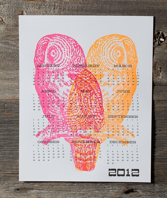 Letterpress Neon Owl Calendar - WishboneLetterpress