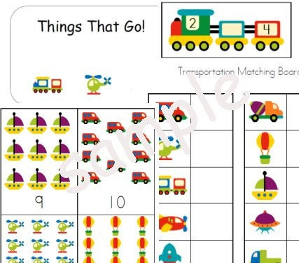 Transportation Unit Theme - Worksheets File Folder Games Centers Preschool Kindergarten Homeschool - busybeeprintables