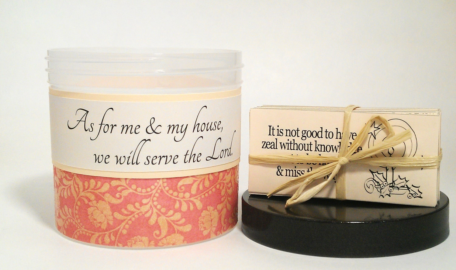 "Scripture Jar with Christian Verse Cards - ""As For Me & My House- Heavenly Roses"""