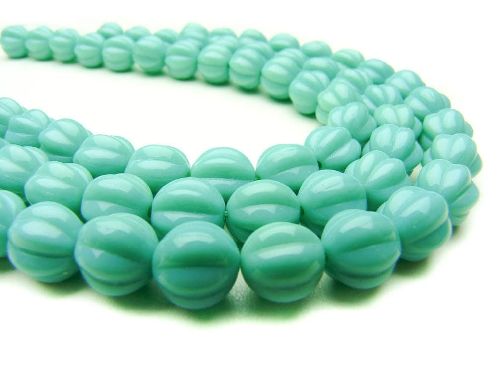 Turquoise - Melon Shaped - Czech Pressed Glass Beads - 8 mm - 25 beads
