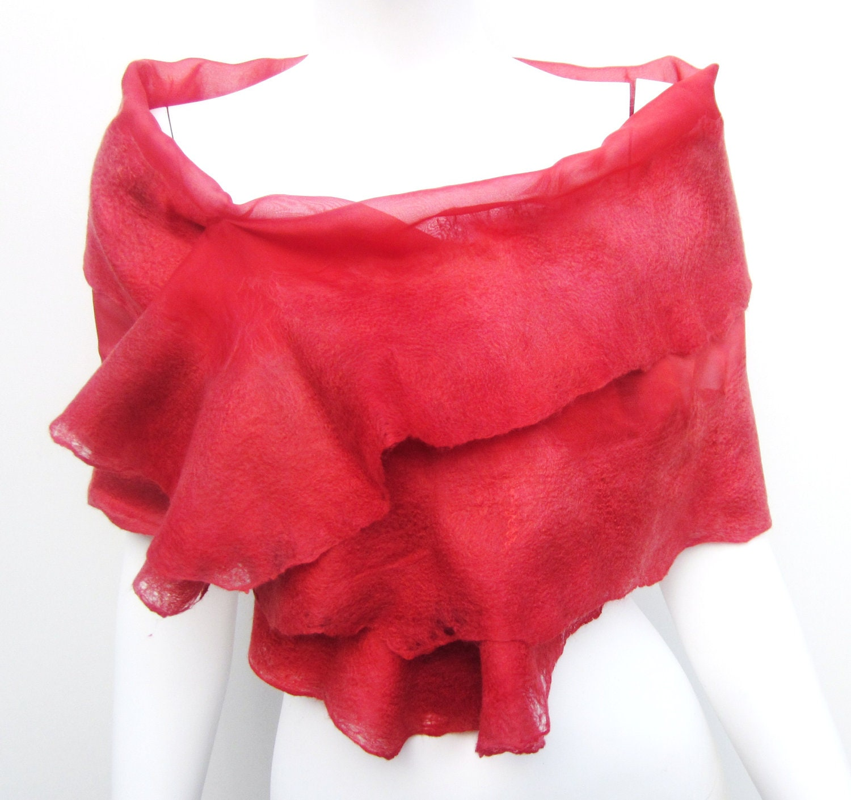 Nuno Felt Silk Australian Merino Wool Hand Dyed Wrap Ruffle Shawl Coral Red