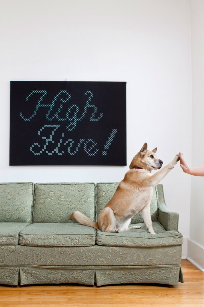 "Giant ""High Five"" Cross-Stitch"