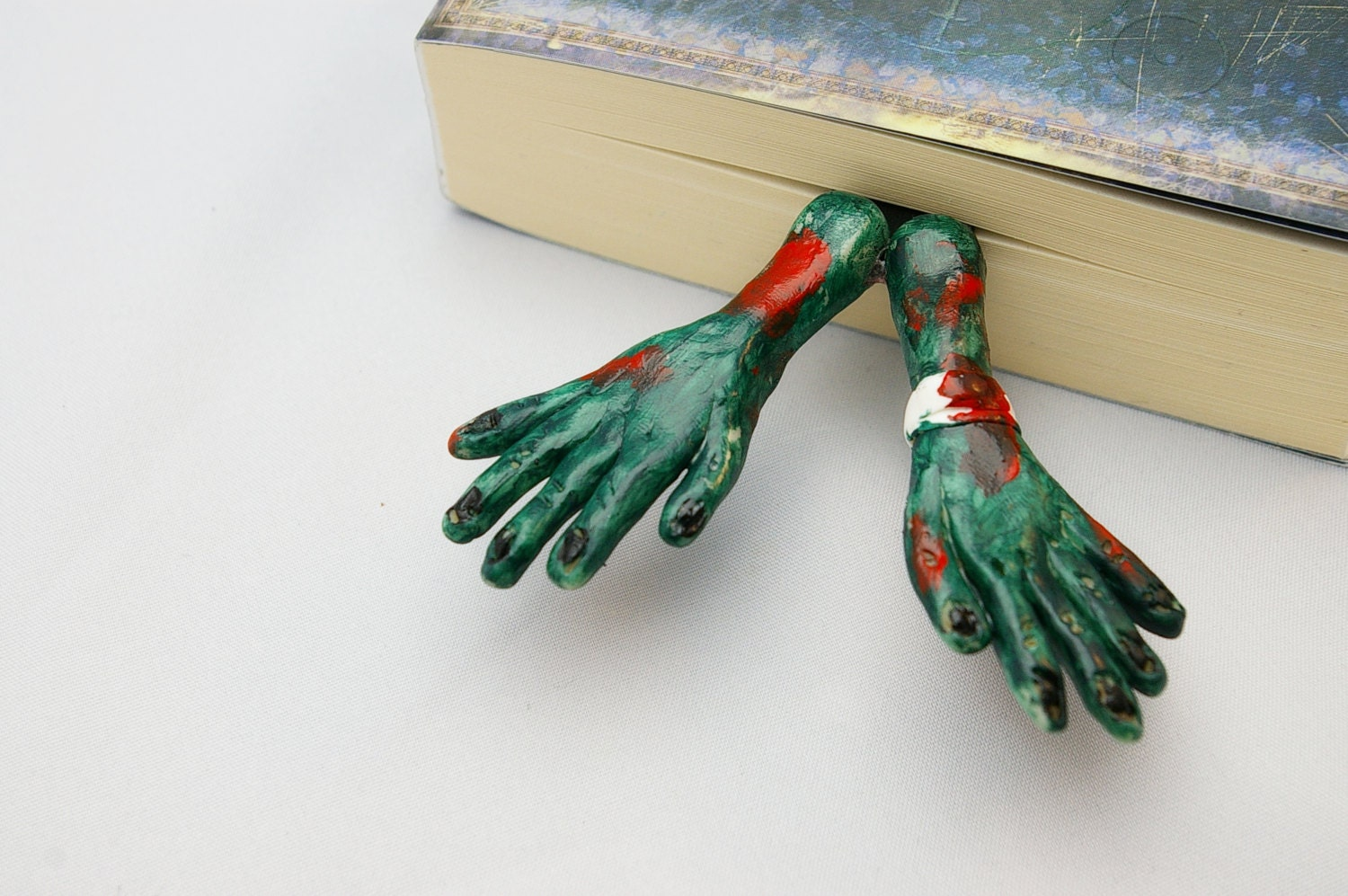 unusual and  unique bookmark Pair of Zombie Hands in the book - CUSTOM bookmark - OOAK  Polymer Clay, handmade