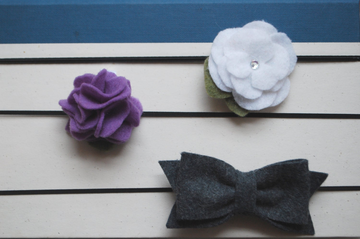 Posies and Petals Set: Includes one felt hair bow, one felt perfect posy, and one felt flower with a sparkle center
