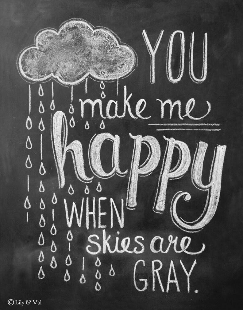 Rain Cloud Print - You Make Me Happy 11x14 Print - Nursery Art - Chalkboard Art - Chalk Art - Chalkboard Print - LilyandVal