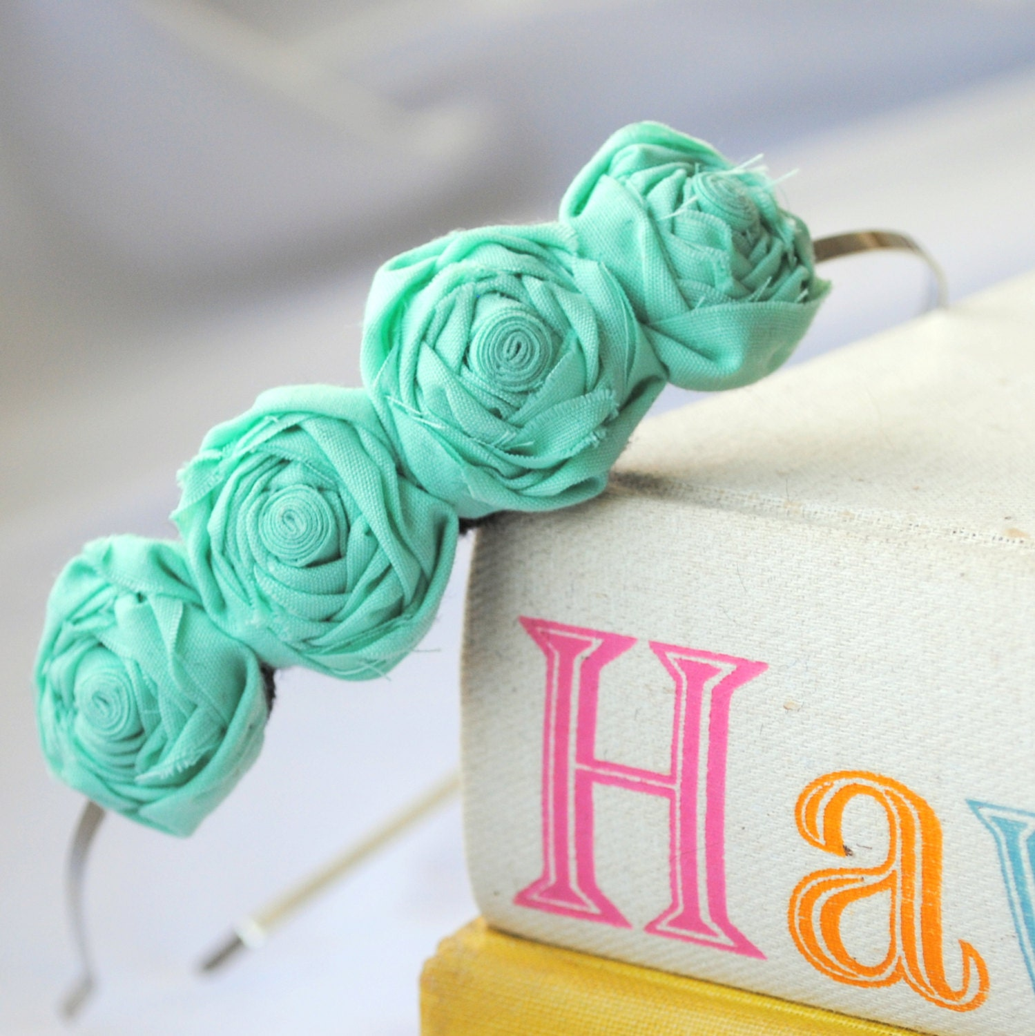 Mint Green Rosette Flower Headband - Small Rosettes - Pastel Green Floral Hair Accessory - FoldingChairDesigns