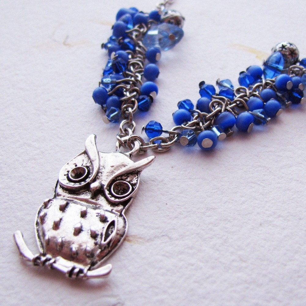 Necklace Charm Pendant - An Owl in a Starry Night
