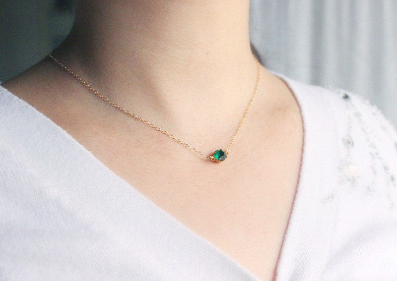 Vintage Emerald Necklace - simple round green crystal 14 karat gold filled everyday jewelry by petitor