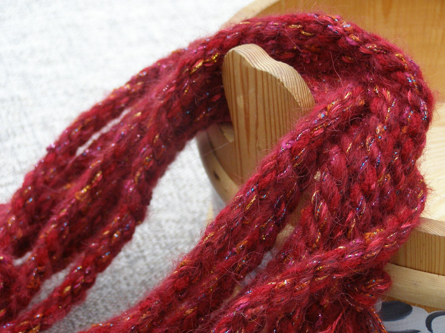 A thick cherry red rope for a Christmas tree garland, animal tails, purse handles, tying floral arrangements, bracelets and more  ABL-277 - gothenburgcollection