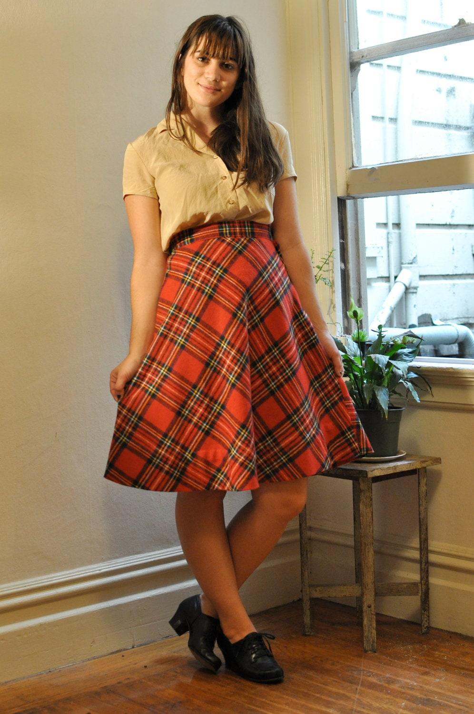 50s Red Wool Tartan Plaid Midi Skirt