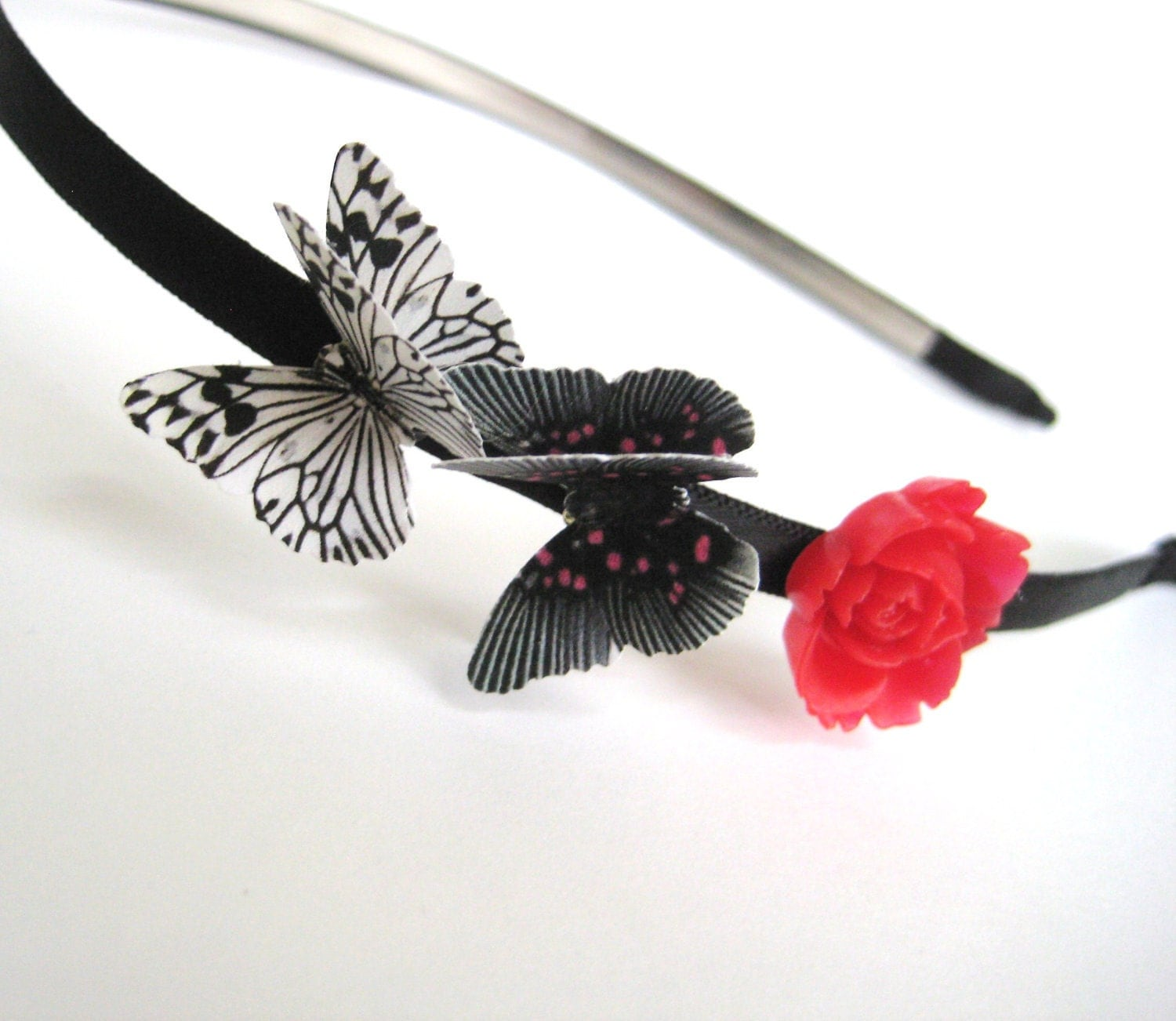 Butterfly Flower Headband Valentines Day Clothing Accessory Black White Red