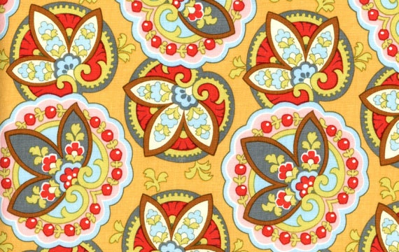 Amy Butler Lotus Star Paisley AB12 Apricot 1 yard Quilt Fabric SALE - clotheslinefabrics