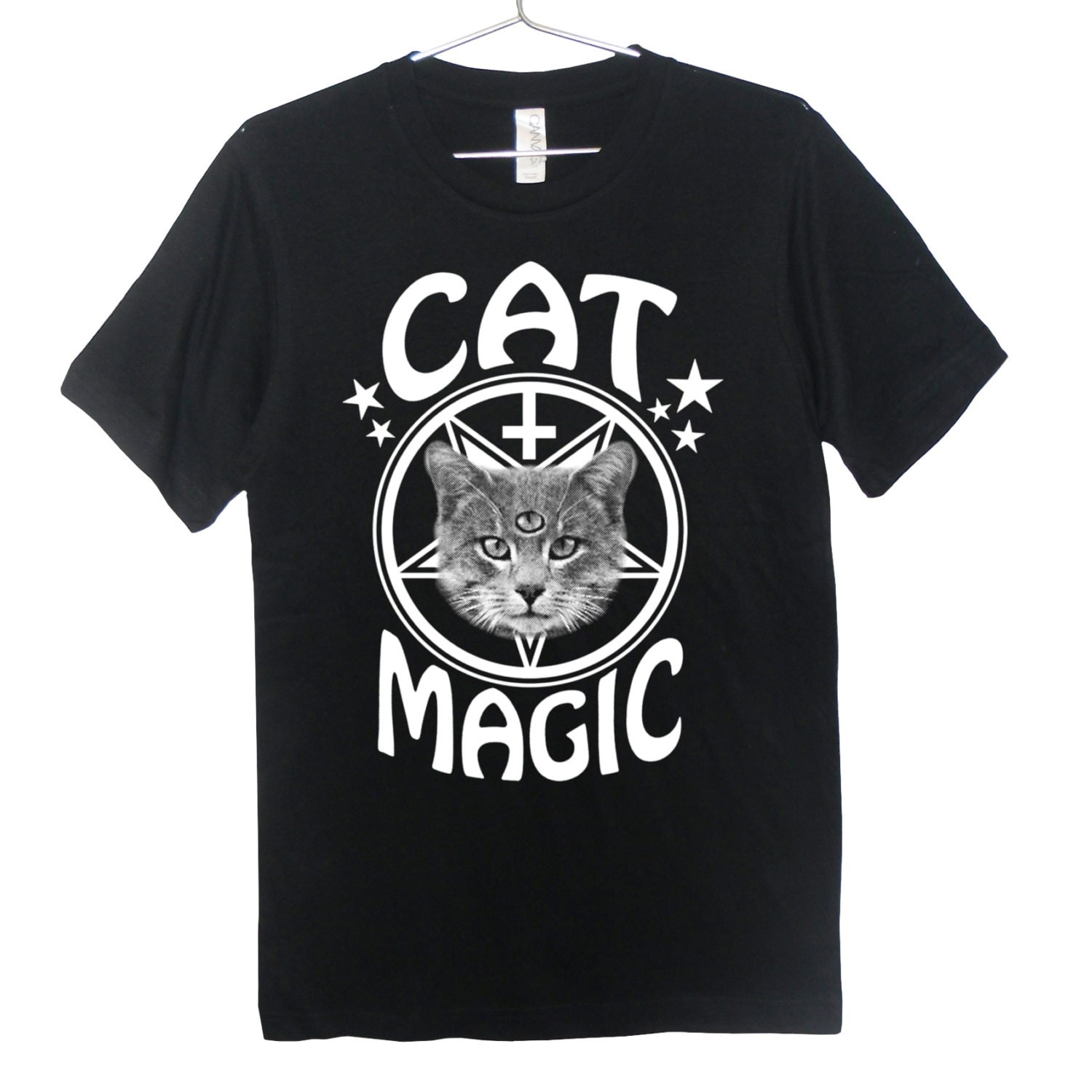Occult Cat T-Shirt - Cat Magic, Goth, Pastel Goth, Grunge, Satanic, Hipster, Inverted Cross