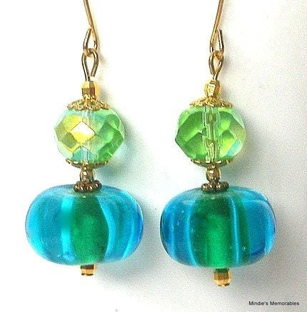 Turquoise blue and green earrings, lampworked glass - Mindielee