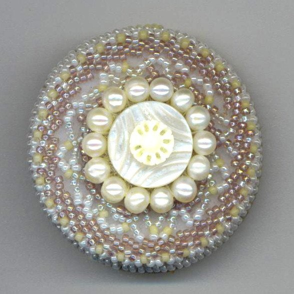 Beaded Brooch . Beadwoven Mother of Pearl . Genuine Pearls . White and Light Lavender  - White Mandala by enchantedbeads on Etsy - enchantedbeads