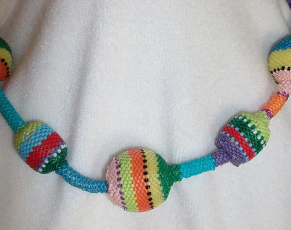 Rainbow beaded necklace metal free - EsmerldasStudio