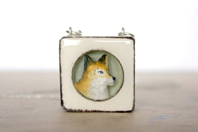 fox necklace in wood necklace- framed fox necklace- hand painted unique fox necklae