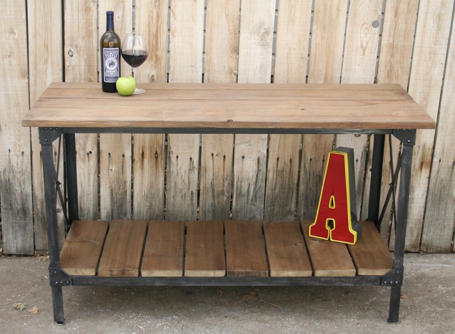 scrap metal and reclaimed wood industrial style furniture buy to fit