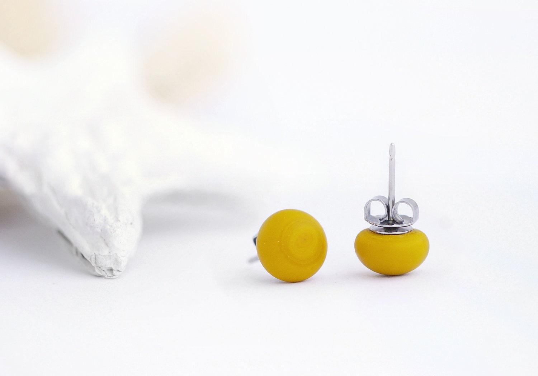 Mustard Yellow Earrings Studs matte glass. - LiperlaHandmadeGlass