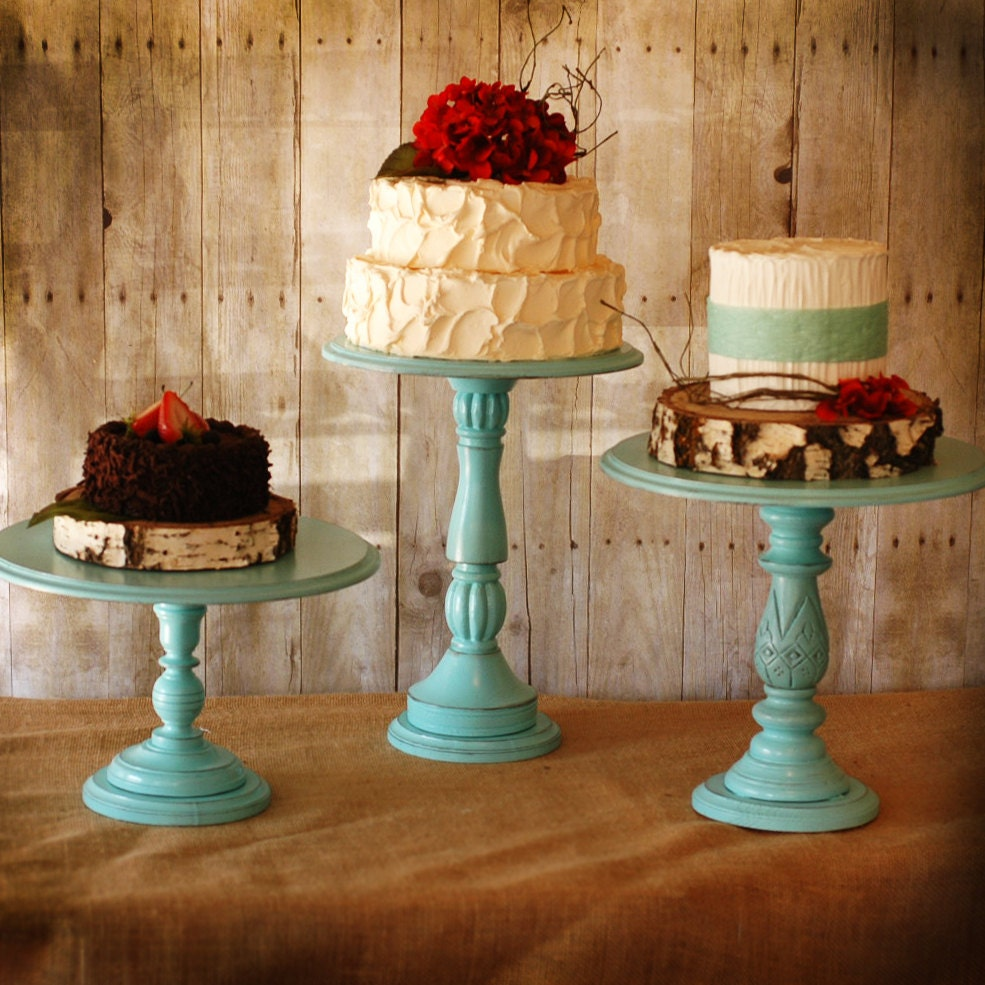 """Rustic Tall Pedestal Serving Cake Stands - Set of 1 - Any color- with 12"""" diameter top"""