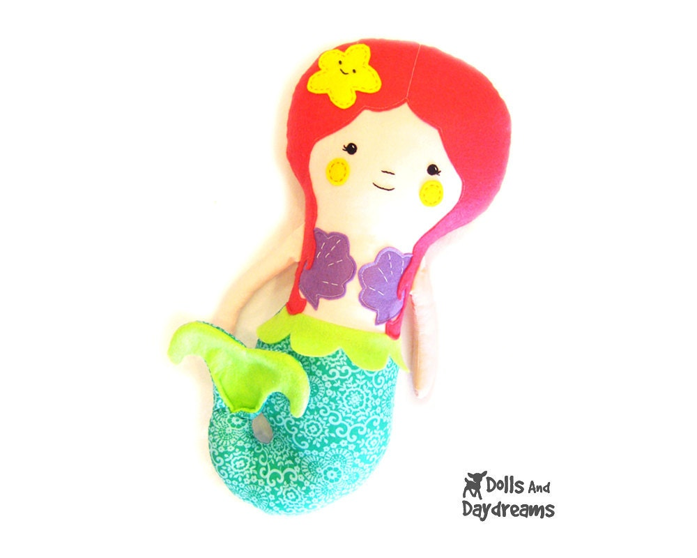 Mermaid Doll PDF Sewing Pattern Softie Instant Download - DollsAndDaydreams