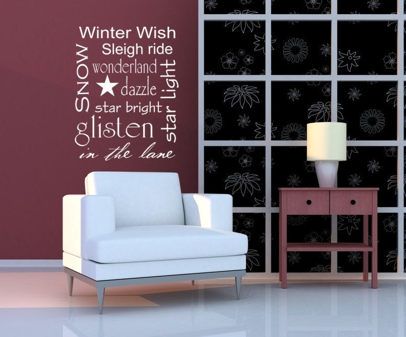 Vinyl Decal Lettering Subway Art Winter Wishes