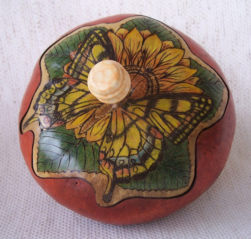 Medium gourd box wood burn and colored pencil butterfly and flower lid ceramic bead