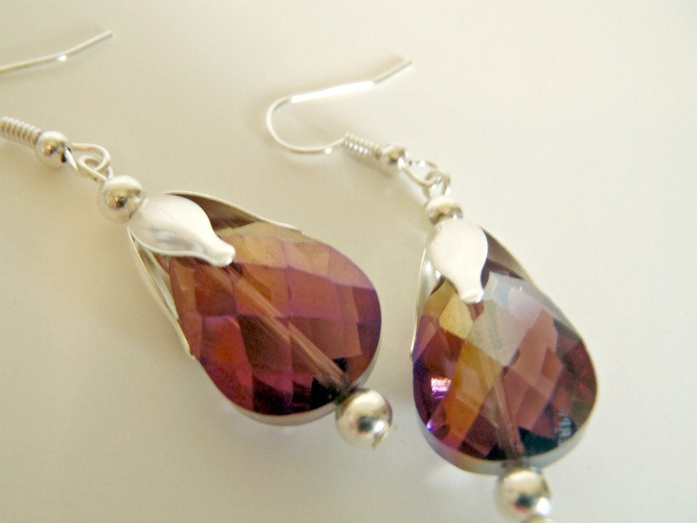 Plum Purple Flowering Tear Drop dangle Earrings
