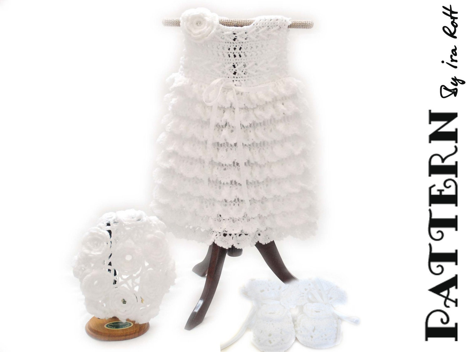 PATTERN - Christening Gown Set - Crocheted Baby Dress, Booties, Beret