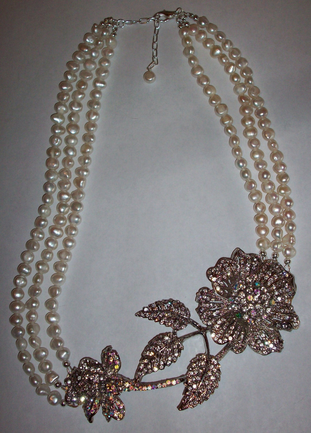 SALE 30% Off-Unique One of a Kind Huge Rhinestone Flower Freshwater Pearl Necklace Gifts under 100
