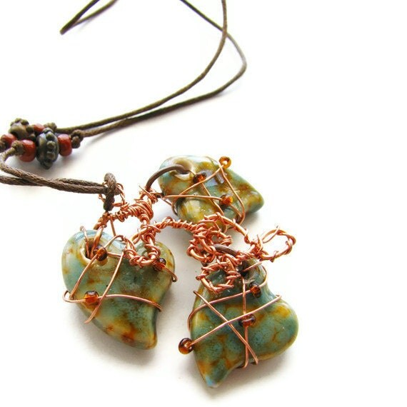 Ceramic Heart Necklace Copper Wire Wrapped - I Heart You OOAK CLEARANCE - heversonart