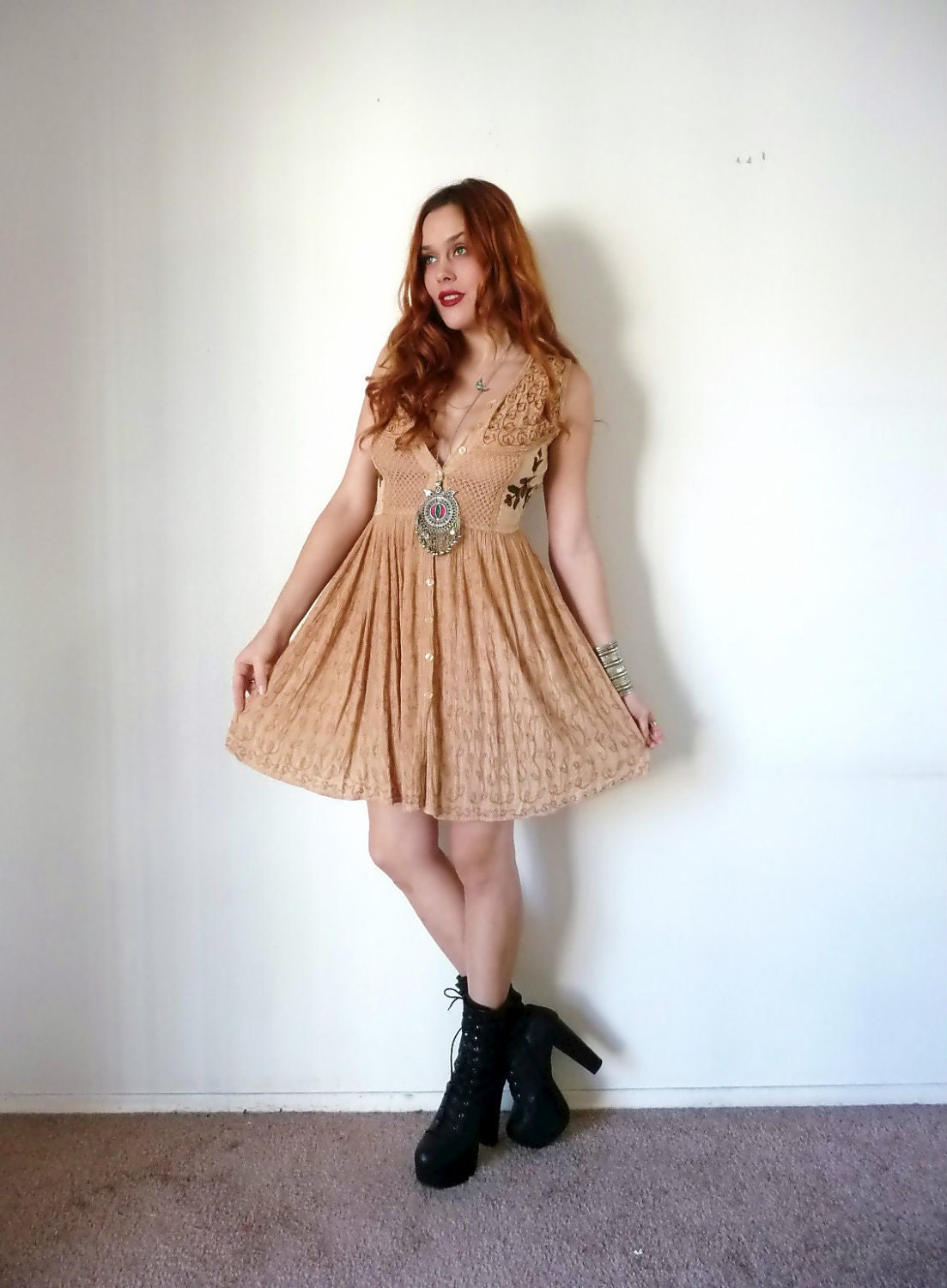 Vintage Tan EMBROIDERED GAUZY Babydoll Dress M