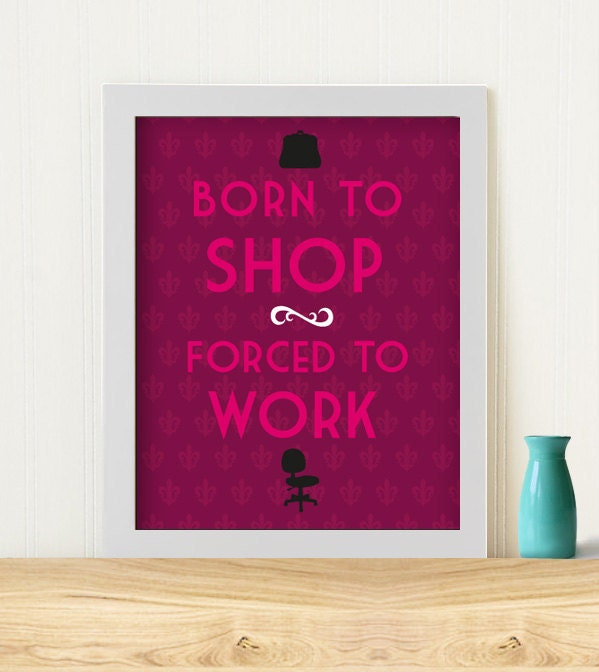 "Original Art Print ""Born to shop"" with purple background"