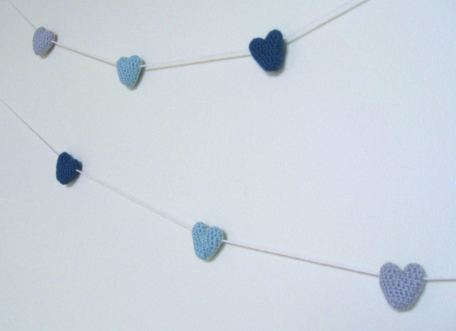 Wedding Garland - Hearts - Crochet Handmade - Decoration / Photo Prop - Merino Blend - Blue & Gray - 6 Hearts - meganEsass