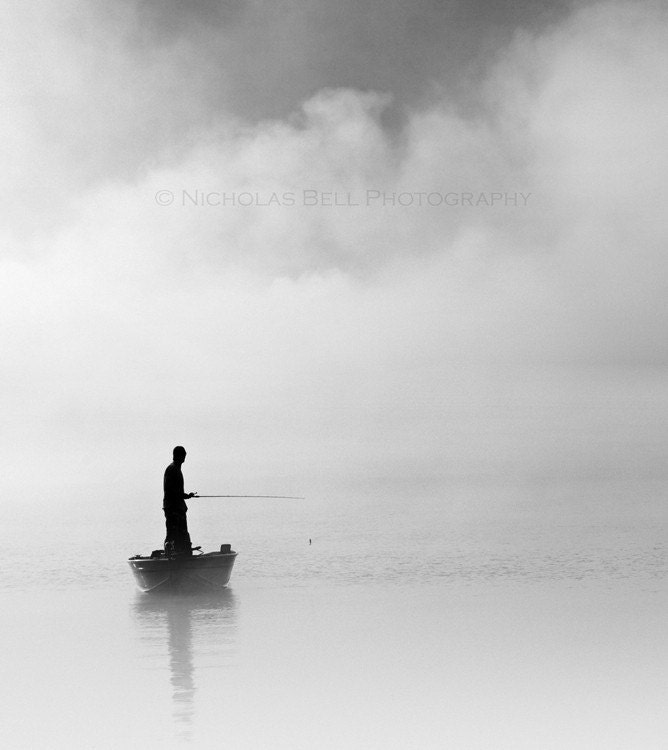 Black and white photography / fishing / fog / nautical / clouds /  Fathers Day / 10 x 11 print - NicholasBellPhoto