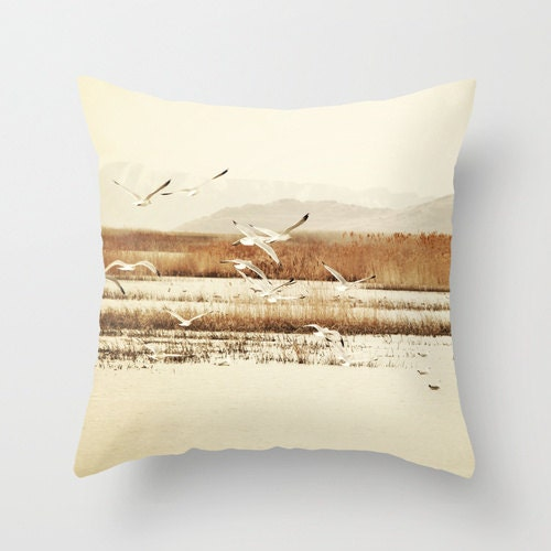 Throw Pillow Cover Nautical Landscape with Seagulls photo - SylviaCPhotography