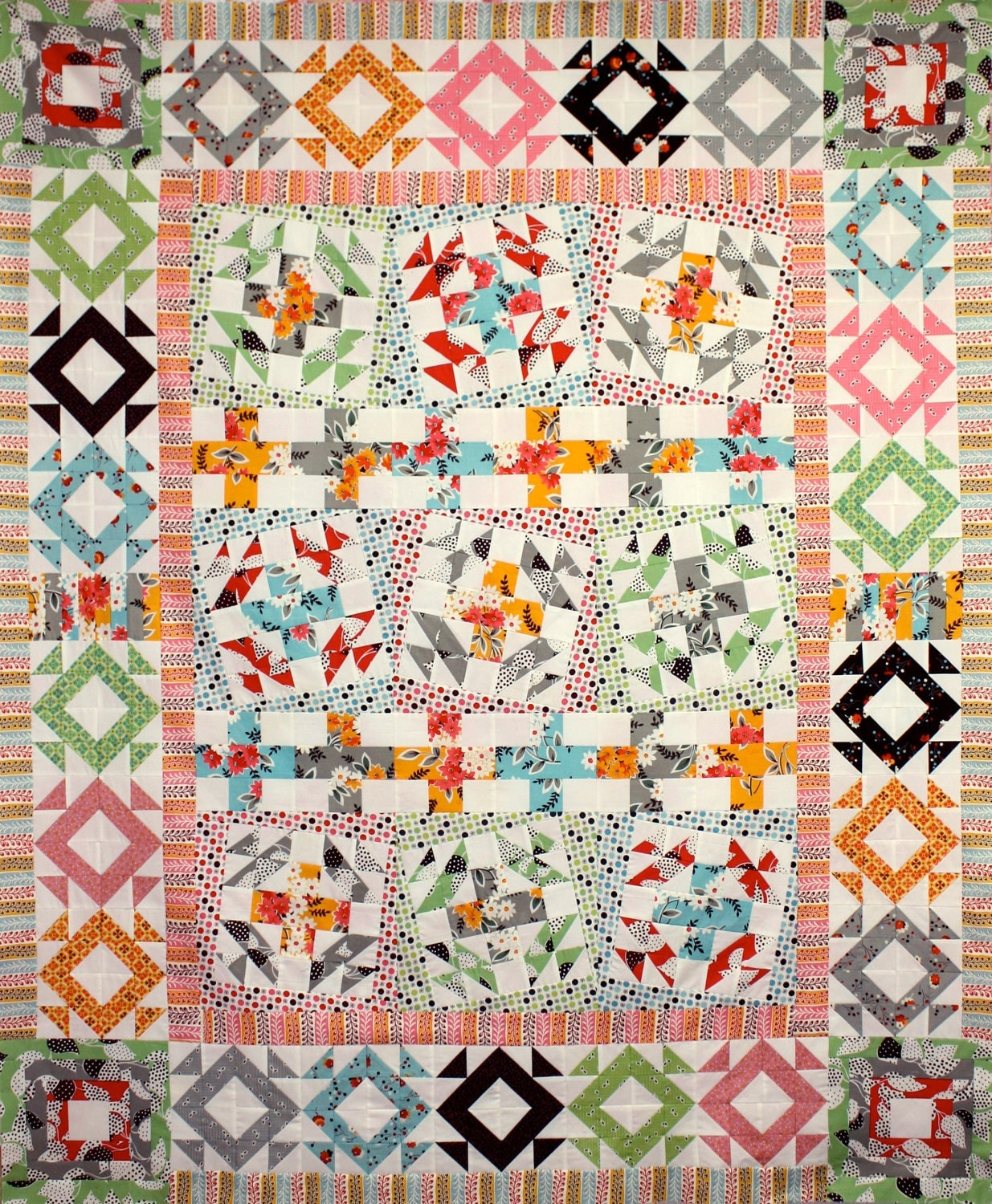 Quilt Pattern - Fancy Wonky Cross - PDF Version - Double Bed Size, Original Design by Sew Well Maide