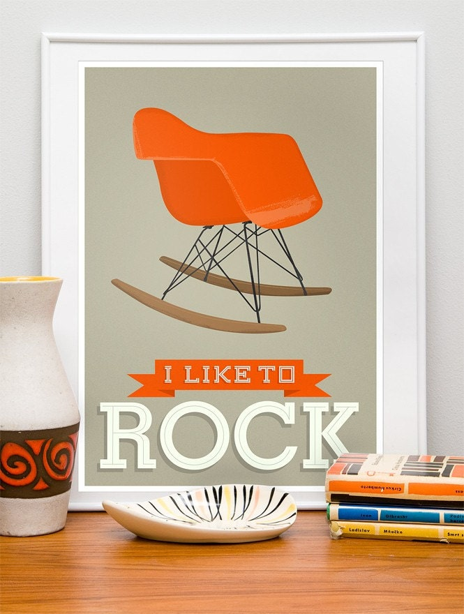 Eames poster Mid Century Art Print   Nursery art  print  I Like to Rock modern   A3 Vanilla