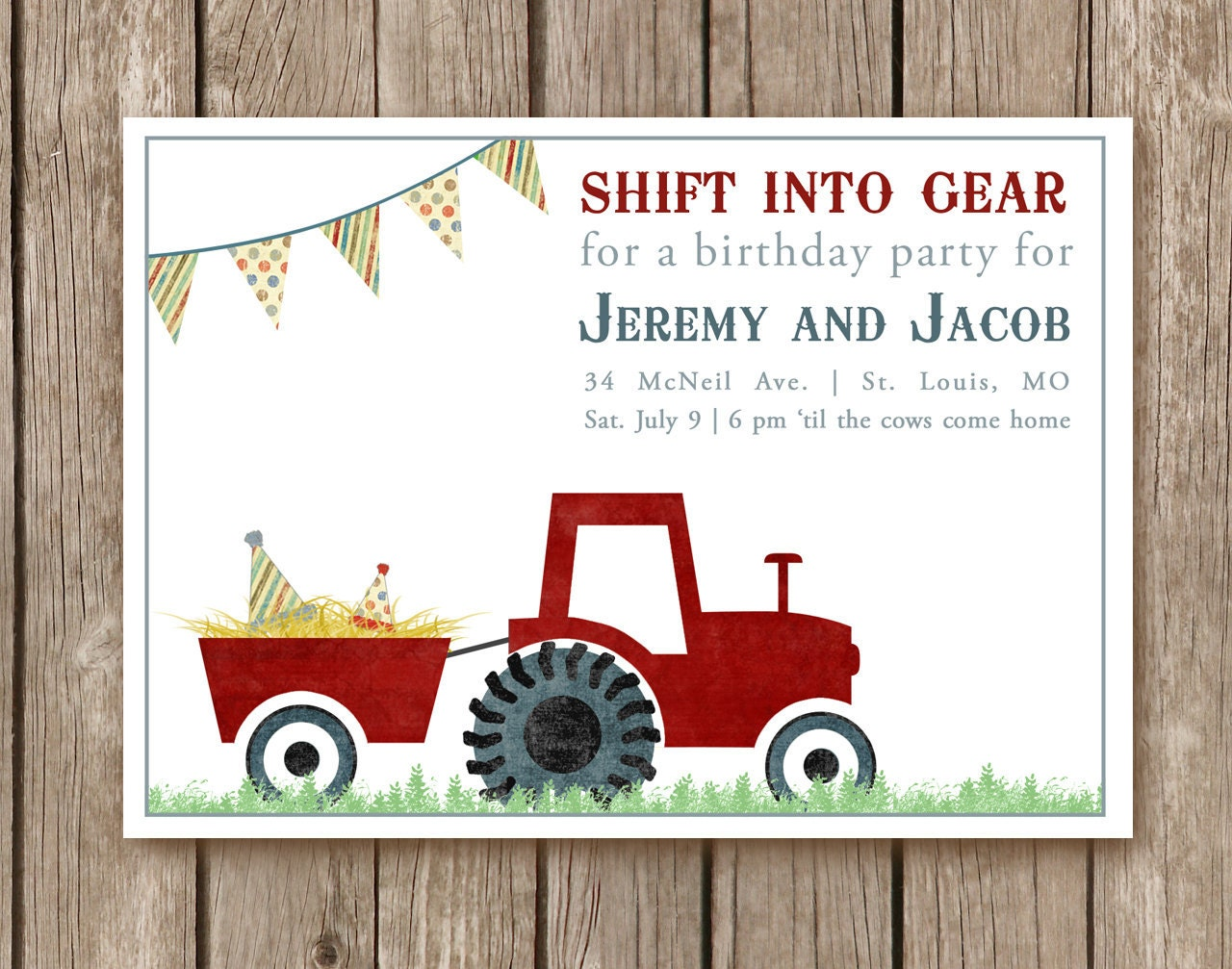 Tractor Birthday Party Invitation - perfect for any type of party on the farm and for farmers of all ages (DEPOSIT)