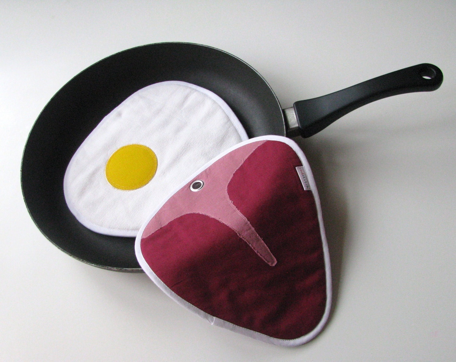 juicy steak and fried eggs potholders - fun potholders - kitchen potholders - made to order