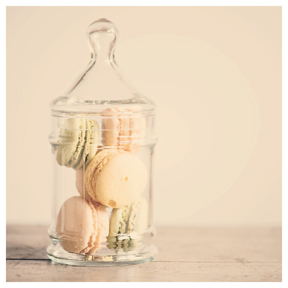 macaron photo kitchen print - whimsical fine art food photography, french, sweet, dessert, cream, yellow, still life photo - 12x12